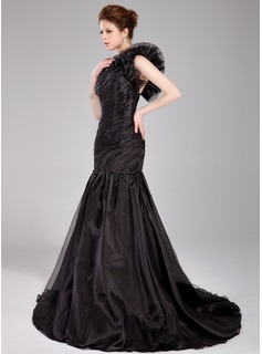 Trumpet/Mermaid One-Shoulder Sweep Train Organza Prom Dresses With Ruffle