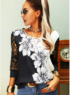 Regular Cotton Blends V-Neck Floral Lace Print Fitted Blouses