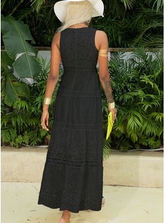 Lace Solid A-line V-Neck Sleeveless Maxi Casual Little Black Vacation Skater Dresses