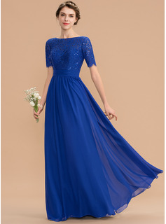 Scoop Neck Floor-Length Chiffon Lace Bridesmaid Dress