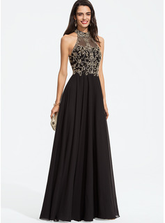 High Neck Floor-Length Chiffon Prom Dresses With Beading
