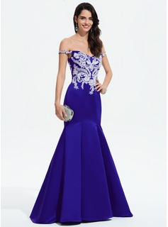 Trumpet/Mermaid Off-the-Shoulder Sweep Train Satin Prom Dresses With Lace Beading