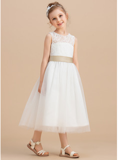 A-Line/Princess Tea-length Flower Girl Dress - Tulle/Lace Sleeveless Scoop Neck With Sash/Bow(s)/Back Hole