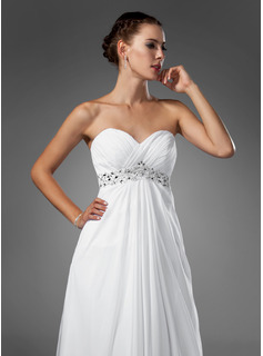 Empire Sweetheart Sweep Train Chiffon Wedding Dress With Ruffle Beading
