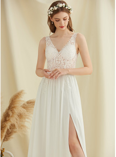 V-neck Floor-Length Chiffon Lace Wedding Dress With Sequins Split Front