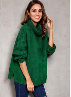 Ribbed Solid Acrylic Cotton Turtleneck Pullovers Sweaters