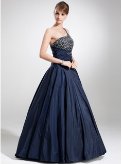 Ball-Gown One-Shoulder Floor-Length Taffeta Quinceanera Dress With Beading Sequins