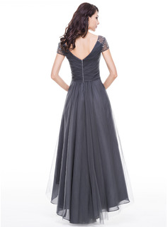 A-Line V-neck Asymmetrical Tulle Evening Dress With Ruffle Beading Sequins