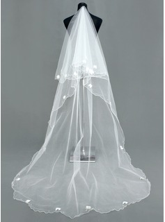 One-tier Cathedral Bridal Veils With Scalloped Edge