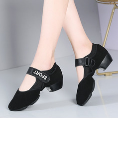 Women's Cloth Pumps Sneakers Modern Jazz Sneakers With Lace-up Dance Shoes