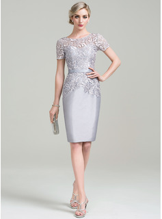 Sheath/Column Scoop Neck Knee-Length Taffeta Lace Cocktail Dress