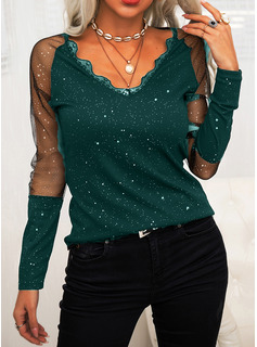 Regular Fitted Lace Print Elegant Long Sleeves