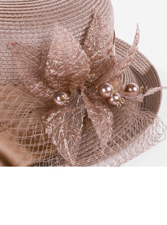 Ladies' Beautiful/Charming Polyester With Silk Flower/Imitation Pearls Kentucky Derby Hats/Tea Party Hats