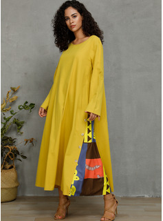 Polyester With Button/Print Maxi Dress