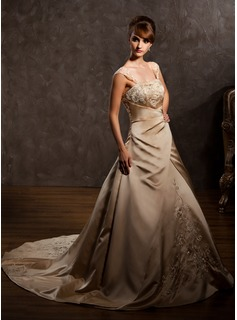 A-Line/Princess Sweetheart Court Train Satin Wedding Dress With Embroidered Ruffle Beading