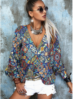Regular Fitted Print Casual Long Sleeves
