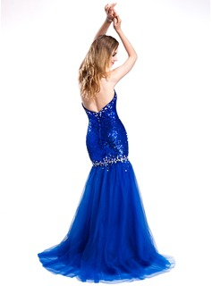 Trumpet/Mermaid Sweetheart Sweep Train Tulle Sequined Prom Dresses With Beading