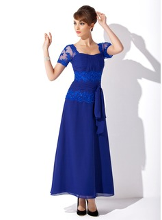 A-Line/Princess Sweetheart Ankle-Length Chiffon Mother of the Bride Dress With Beading Appliques Lace Sequins Bow(s)