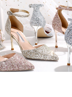Women's Leatherette Sparkling Glitter Stiletto Heel Closed Toe Pumps With Sequin