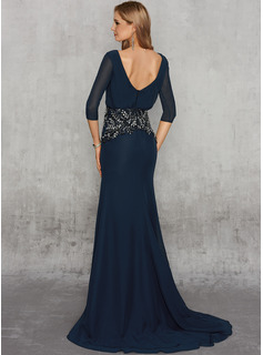 Trumpet/Mermaid V-neck Sweep Train Chiffon Evening Dress With Beading Split Front