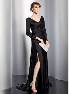 A-Line/Princess V-neck Sweep Train Charmeuse Mother of the Bride Dress With Ruffle Split Front