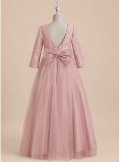 A-Line Floor-length Flower Girl Dress - Tulle Long Sleeves Scoop Neck With Beading/V Back