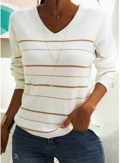 Striped Polyester V-neck Pullovers Sweaters
