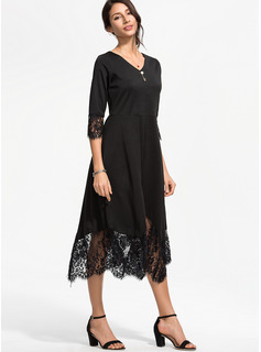 Cotton/Lace With Lace/Solid Midi Dress