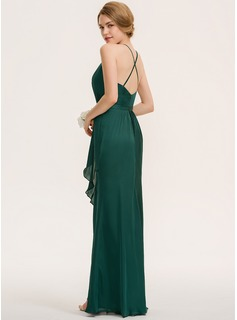 Sheath/Column Scoop Neck Floor-Length Satin Chiffon Bridesmaid Dress With Split Front Cascading Ruffles