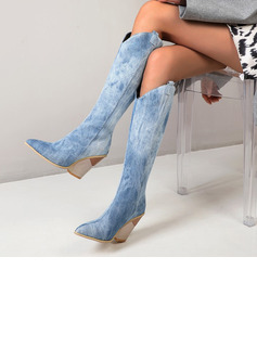 chiffon dress knee high boots