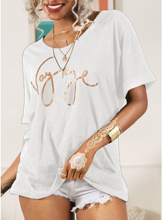 Regular Cotton Blends Round Neck Figure Print Fitted Blouses
