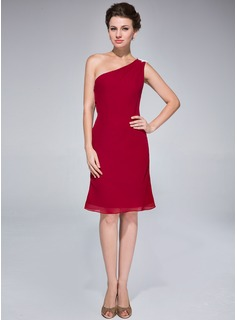 Sheath/Column One-Shoulder Knee-Length Chiffon Cocktail Dress With Appliques Lace