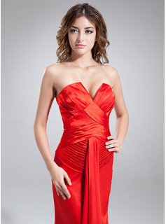 Trumpet/Mermaid V-neck Floor-Length Charmeuse Holiday Dress With Ruffle