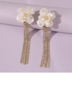 Fashionable Alloy/Resin Rhinestone/Tassels Earrings