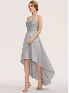 A-Line Halter Asymmetrical Chiffon Lace Cocktail Dress
