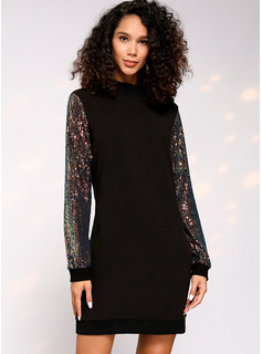 Polyester With Sequins Knee Length Dress