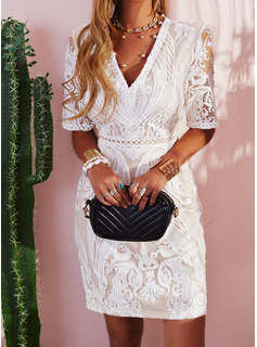 simple long white lace dress