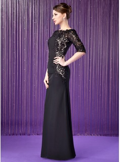 Sheath/Column Off-the-Shoulder Floor-Length Chiffon Lace Mother of the Bride Dress