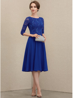 Scoop Neck Knee-Length Chiffon Lace Mother of the Bride Dress With Sequins