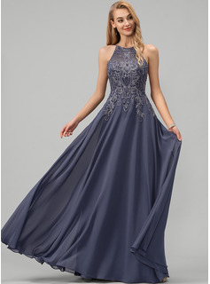 A-Line Scoop Neck Floor-Length Chiffon Evening Dress With Lace Sequins