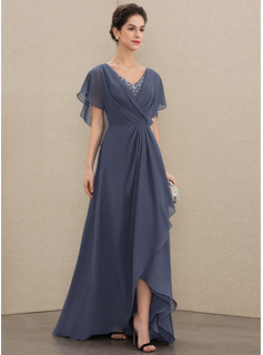 A-Line V-neck Asymmetrical Chiffon Evening Dress With Beading Sequins