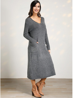 Cable-knit Solid Polyester V-neck Pullovers Sweater Dresses Sweaters