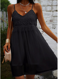 Lace Solid Shift Spaghetti Straps Sleeveless Midi Casual Little Black Vacation Type Dresses