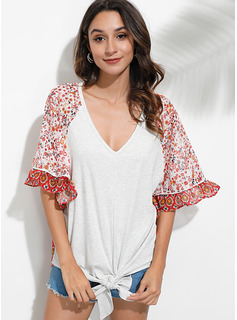 3/4 Sleeves Batwing Sleeves Polyester V Neck Blouses