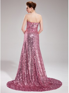 Trumpet/Mermaid Sweetheart Court Train Sequined Prom Dresses With Beading Split Front