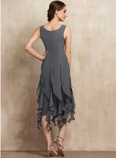 Sheath/Column V-neck Asymmetrical Chiffon Cocktail Dress With Beading Appliques Lace Sequins Cascading Ruffles