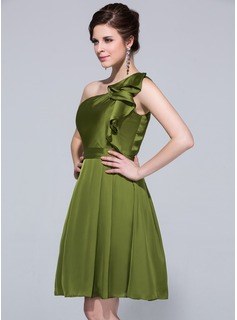 A-Line/Princess One-Shoulder Knee-Length Satin Chiffon Bridesmaid Dress With Cascading Ruffles