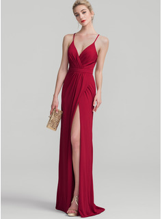 Sheath/Column V-neck Floor-Length Jersey Prom Dresses