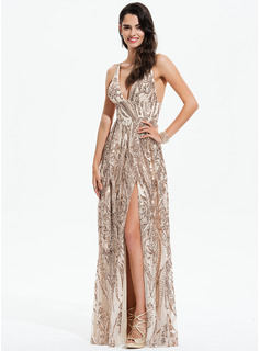 A-Line V-neck Floor-Length Sequined Prom Dresses With Split Front