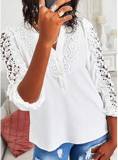 Regular Fitted Lace Solid Button Up Elegant 3/4 Sleeves